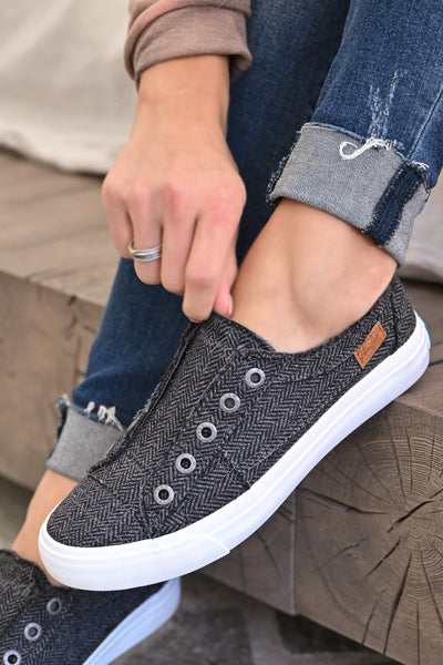 Wherever You Wander Sneakers - Charcoal Herringbone womens casual slip on tennis shoes closet candy close