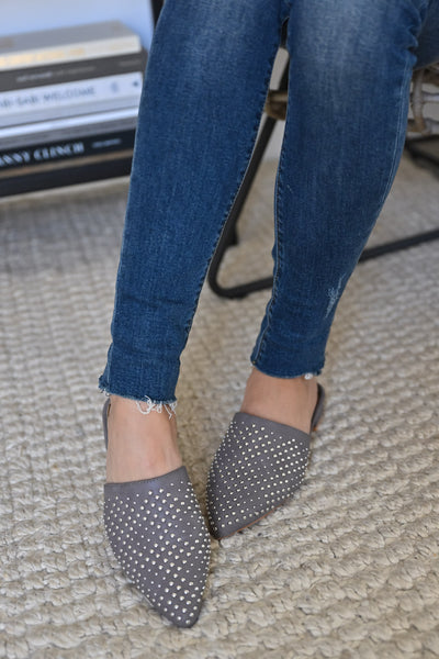Madeline Studded Mules - Grey womens trendy slip on studded comfortable flats closet candy front