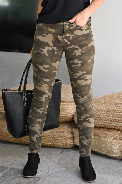GRACE & LACE Camo Jeggings womens trendy printed Camo long stretchy pant closet candy close