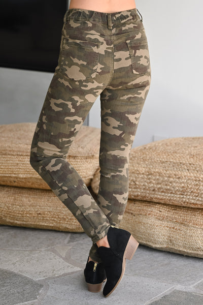 GRACE & LACE Camo Jeggings womens trendy printed Camo long stretchy pant closet candy back