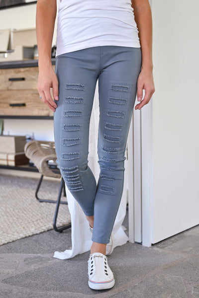 Dangerous Woman Distressed Pants - Grey womens trendy fall leggings closet candy front