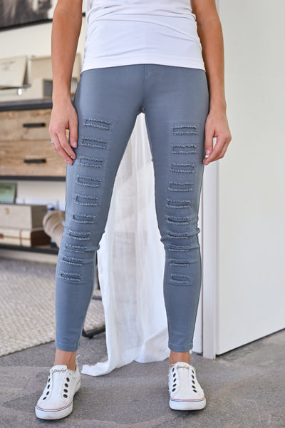 Dangerous Woman Distressed Pants - Grey womens trendy fall leggings closet candy front 2