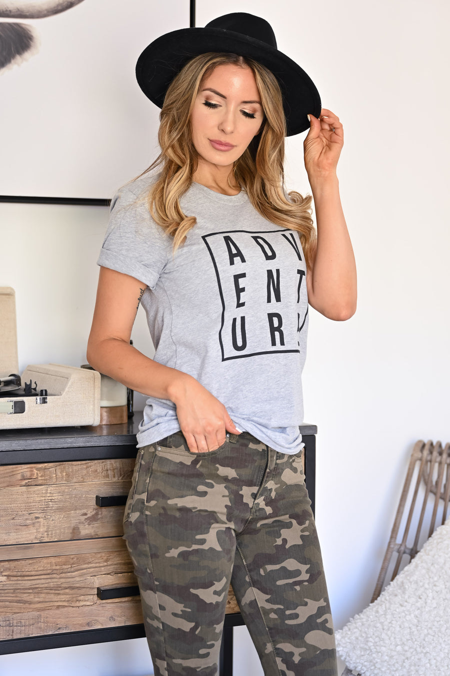 """Adventure"" Graphic Tee - Heather Grey womens casual short sleeve graphic t-shirt closet candy sitting"