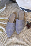 Madeline Studded Mules - Grey womens trendy slip on studded comfortable flats closet candy flatlay
