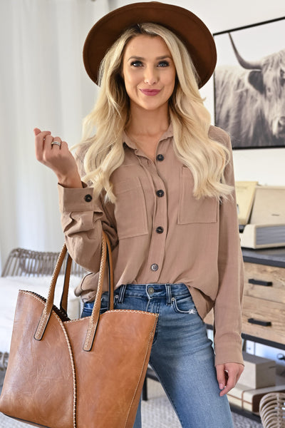 Roll The Dice Button Up Top - Dark Latte womens trendy collared long sleeve casual front pocket top closet candy close