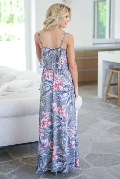 Paradise Escape Maxi Dress - Grey Tropical print, adjustable spaghetti straps, ruffle overlay at bodice, elastic waistband closet candy boutique 3