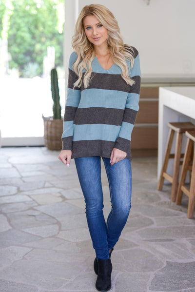 Find Me With A Smile Top - Dusty Blue, charcoal, women's striped sweater top, rounded v-neckline, side slit details at hem, soft stretchy material, closet candy boutique 2