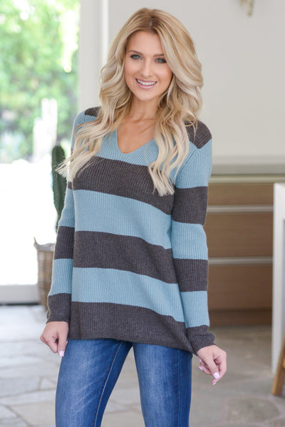 Find Me With A Smile Top - Dusty Blue, charcoal, women's striped sweater top, rounded v-neckline, side slit details at hem, soft stretchy material, closet candy boutique 4