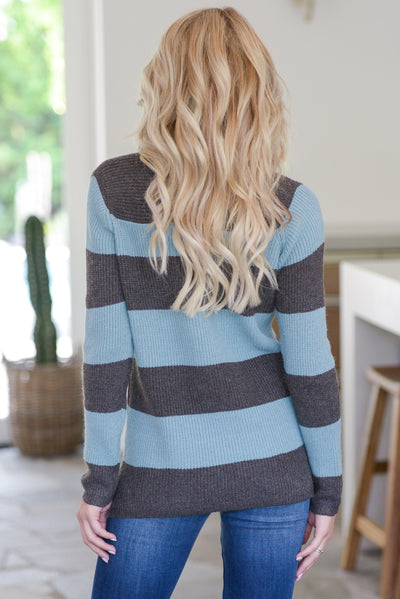 Find Me With A Smile Top - Dusty Blue, charcoal, women's striped sweater top, rounded v-neckline, side slit details at hem, soft stretchy material, closet candy boutique 5