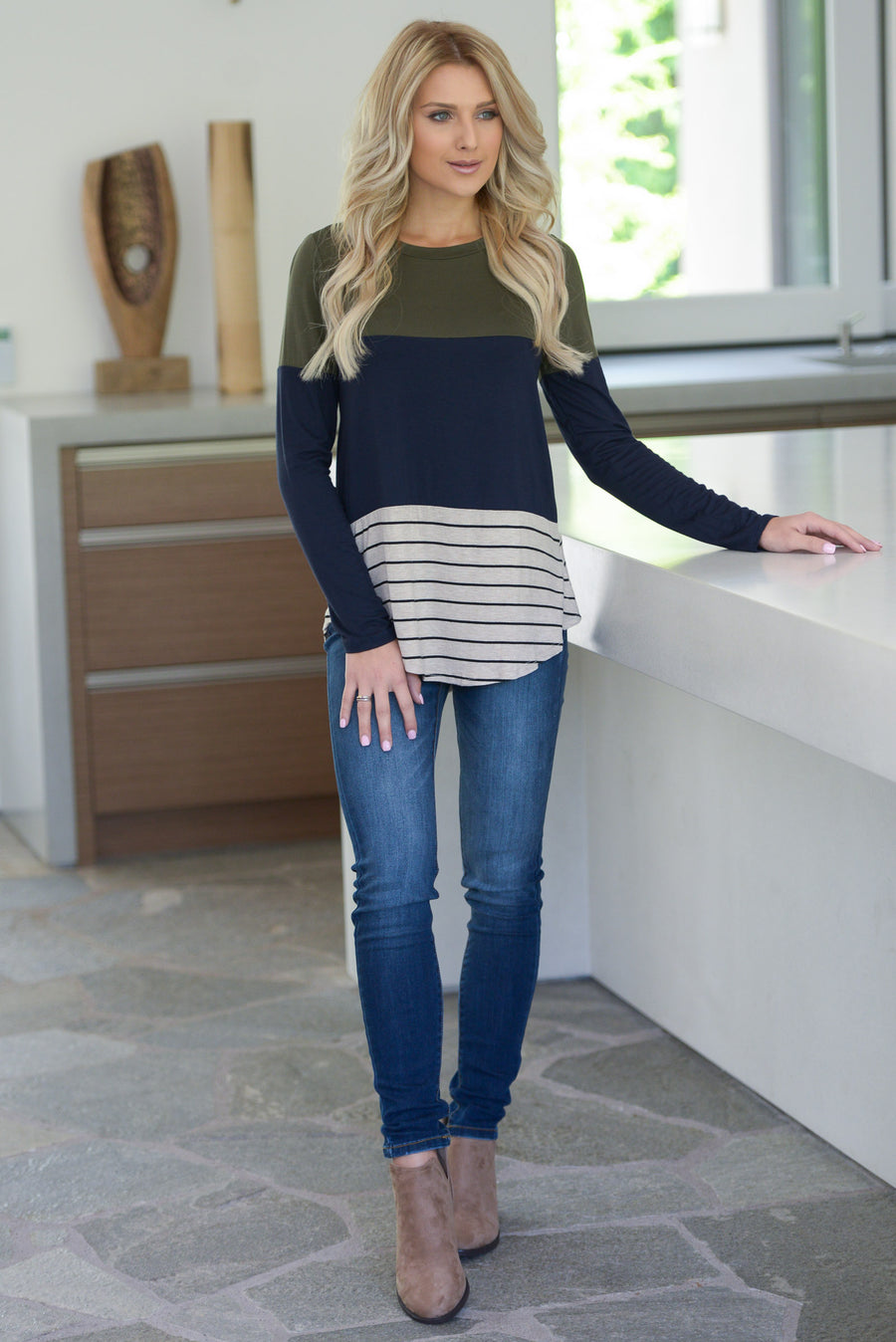 The Perfect Blend Top - Olive/Navy soft long sleeve, stripe, color-block top with crochet trim detail center back detail, closet candy boutique 1