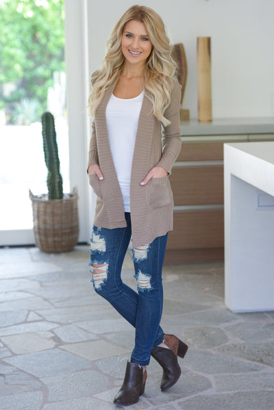 At Your Leisure Cardigan - Tan knit cardigan, cute fall style, pockets, Closet Candy Boutique 5