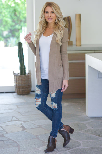 At Your Leisure Cardigan - Tan knit cardigan, cute fall style, pockets, Closet Candy Boutique 2
