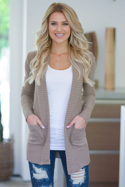 At Your Leisure Cardigan - Tan knit cardigan, cute fall style, pockets, Closet Candy Boutique 3