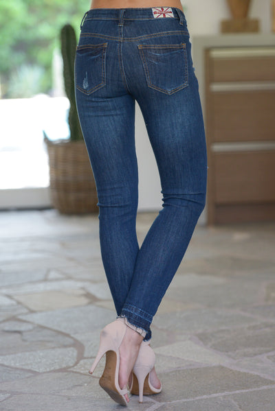 MACHINE Distressed Jeans W/ Released Hem - Dark Wash trendy skinny jeans closet candy boutique 4