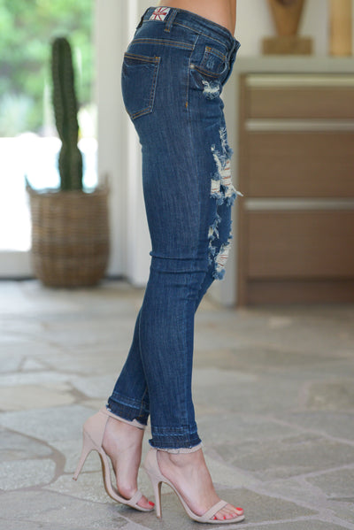 MACHINE Distressed Jeans W/ Released Hem - Dark Wash trendy skinny jeans closet candy boutique 3