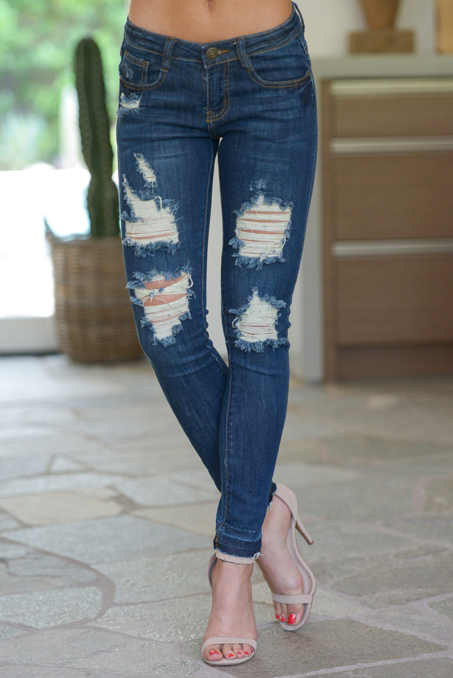 MACHINE Distressed Jeans W/ Released Hem - Dark Wash trendy skinny jeans closet candy boutique 1