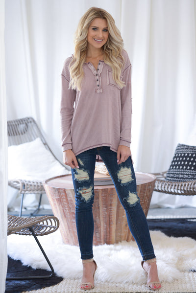 Love You A Latte Top - Dusty Rose long sleeve, partial button down, stone-washed thermal top, hi-low hem, side slits closet candy boutique 4