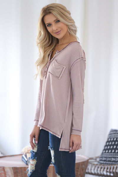 Love You A Latte Top - Dusty Rose long sleeve, partial button down, stone-washed thermal top, hi-low hem, side slits closet candy boutique 3