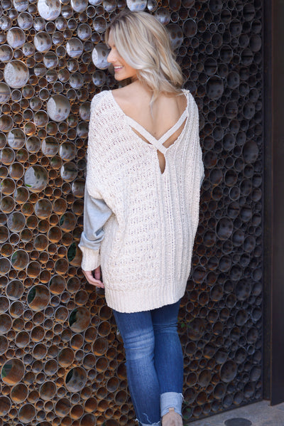 Wrapped In Love Sweater - Natural/Grey, two tone pullover cable knit sweater, criss cross back detail, closet candy boutique 4