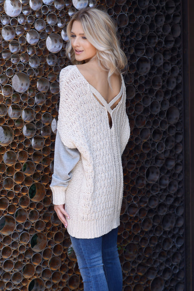 Wrapped In Love Sweater - Natural/Grey, two tone pullover cable knit sweater, criss cross back detail, closet candy boutique 2