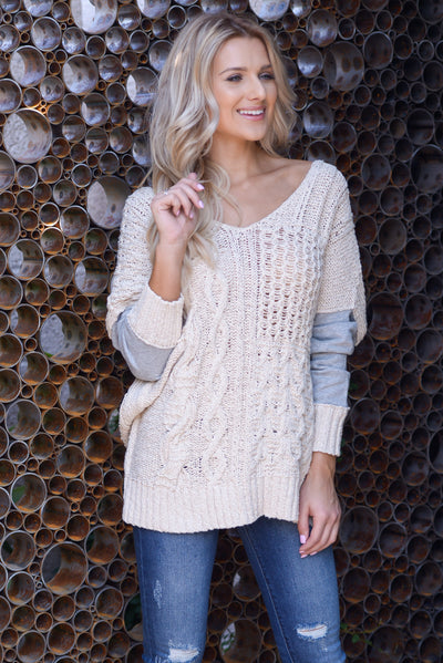 Wrapped In Love Sweater - Natural/Grey, two tone pullover cable knit sweater, criss cross back detail, closet candy boutique 3