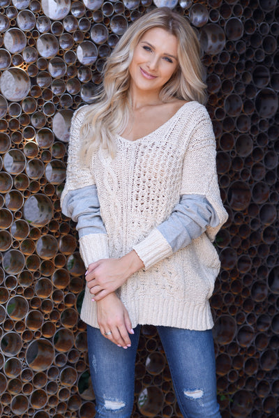 Wrapped In Love Sweater - Natural/Grey, two tone pullover cable knit sweater, criss cross back detail, closet candy boutique 1