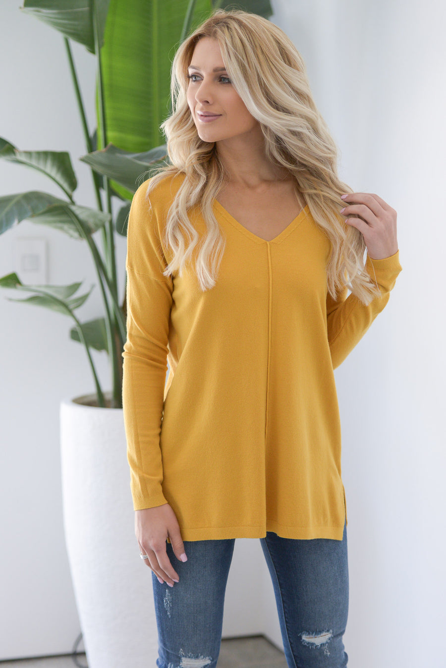 Cuddles & Cocoa Sweater - Mustard women's v-neck stretchy top with center seam and side slits closet candy boutique 1