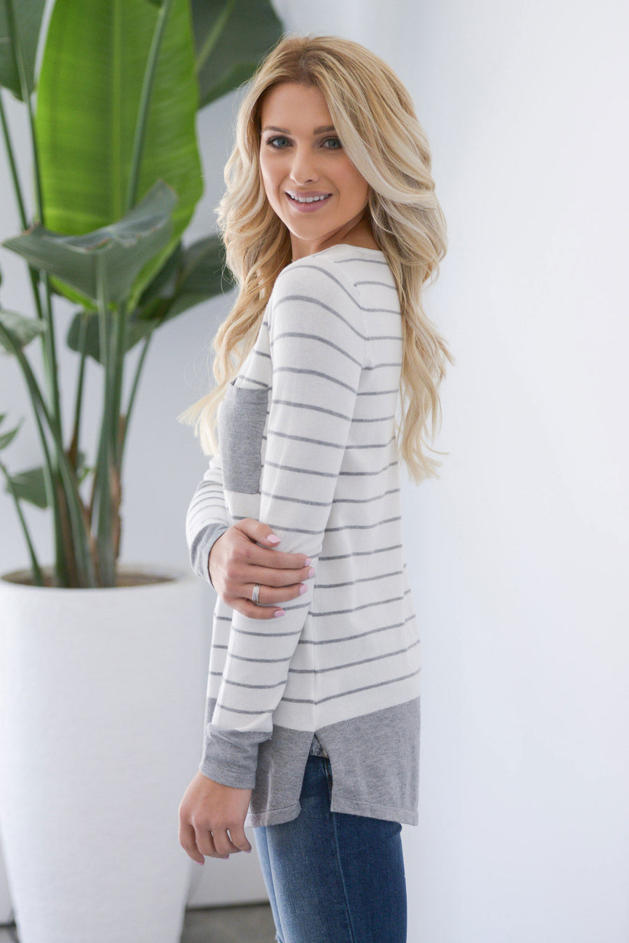 In My Comfort Zone Top - Grey/Ivory women's striped print sweater top, chest pocket, round neckline, button details, side slits at hem, soft stretchy material, closet candy boutique 1