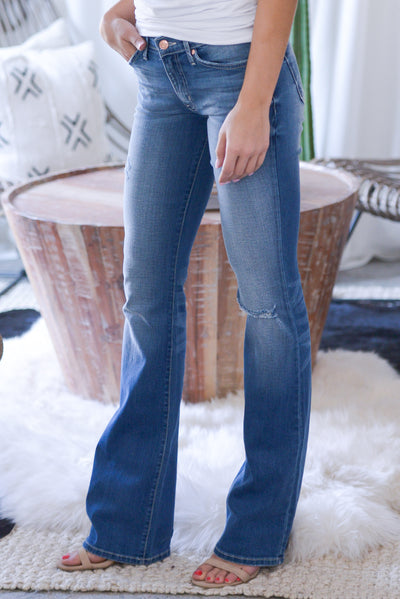 KAN CAN PREMIER Distressed Boot Cut Jeans - medium wash, slight distressing, rip at knee, low-rise, classic 5-pocket design, closet candy boutique 3