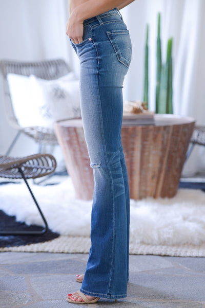KAN CAN PREMIER Distressed Boot Cut Jeans - medium wash, slight distressing, rip at knee, low-rise, classic 5-pocket design, closet candy boutique 4