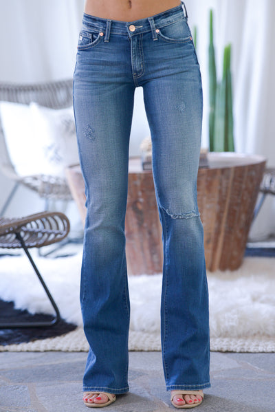 KAN CAN PREMIER Distressed Boot Cut Jeans - medium wash, slight distressing, rip at knee, low-rise, classic 5-pocket design, closet candy boutique 5