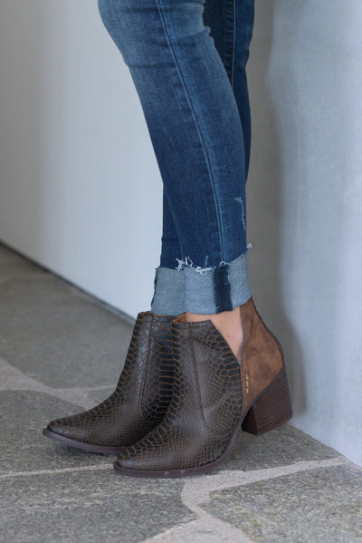 Laura Marano Booties - Cognac Not Rated snake print textured, vegan leather, heeled ankle booties with v-cutouts on sides closet candy boutique 4