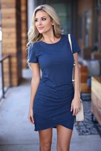 Nothing Better T-Shirt Dress - Navy women's ruched round neckline short sleeve fitted dress, front, Closet Candy Boutique 2