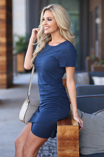 Nothing Better T-Shirt Dress - Navy women's ruched round neckline short sleeve fitted dress, front, Closet Candy Boutique 1