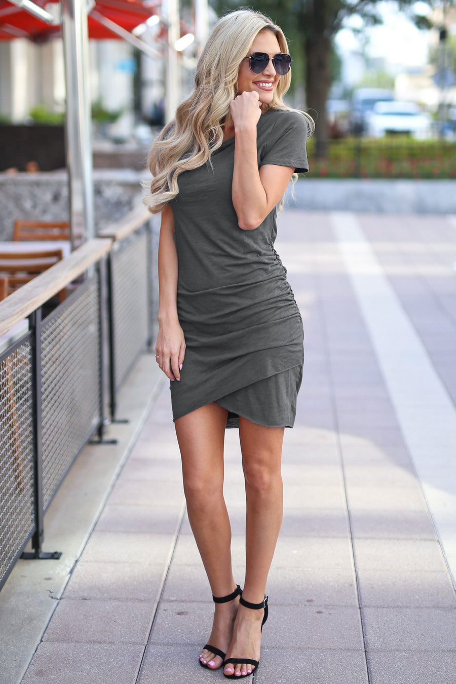 Nothing Better T-Shirt Dress - Charcoal women's trendy ruched round neckline short sleeve fitted dress, front, Closet Candy Boutique 1