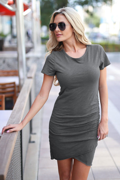 Nothing Better T-Shirt Dress - Charcoal women's trendy ruched round neckline short sleeve fitted dress, front, Closet Candy Boutique 4