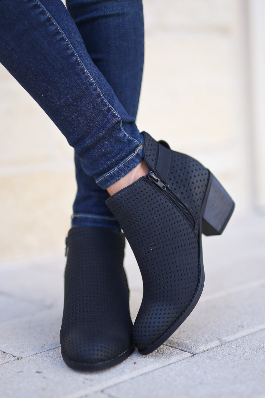 Davina Booties - Black perforated, trendy ankle booties, cute buckle detail, closet candy boutique 1
