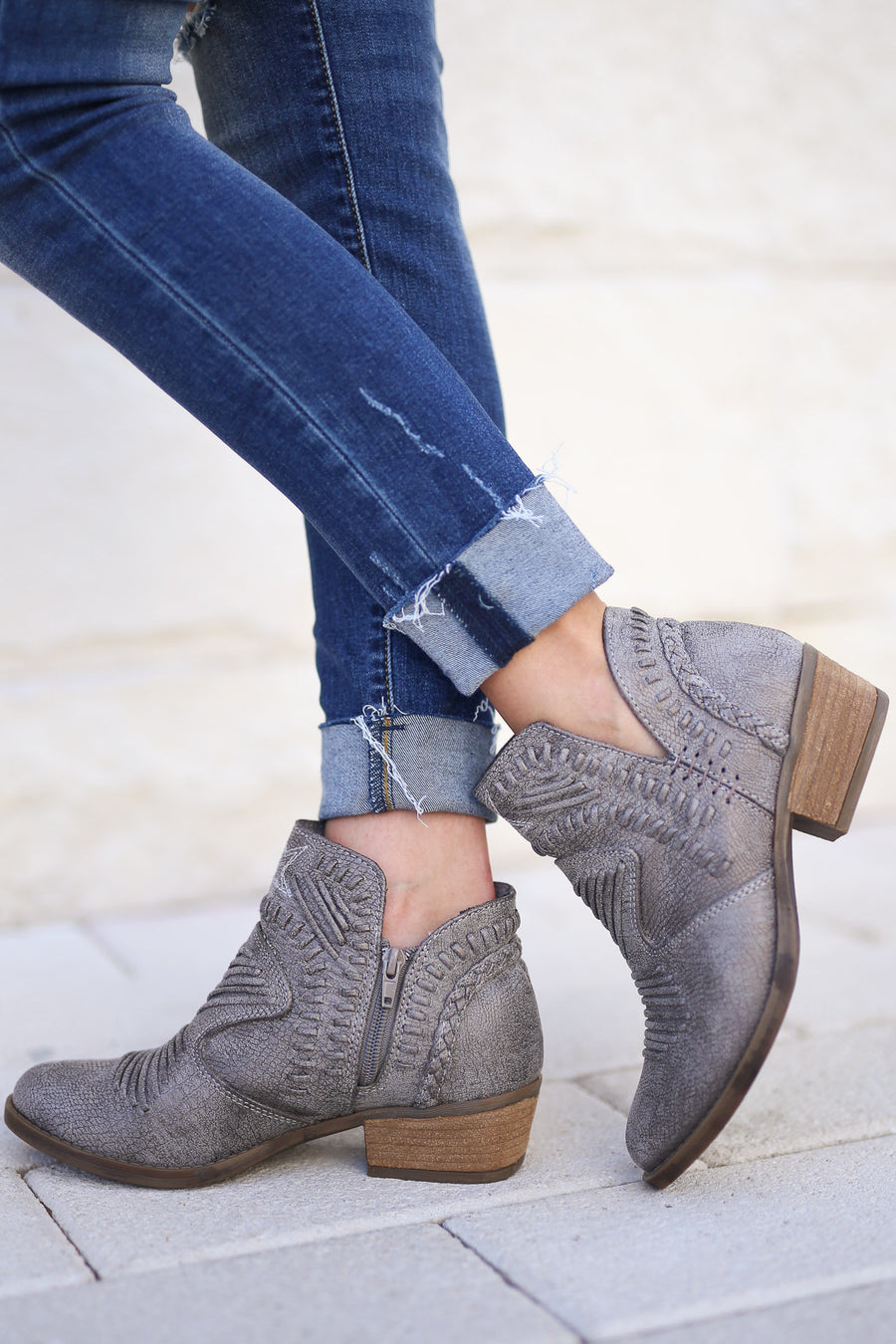NOSARA- Woven Detail Booties - Grey women's trendy vegan leather, textured, woven overlay, western design details, closet candy boutique 1