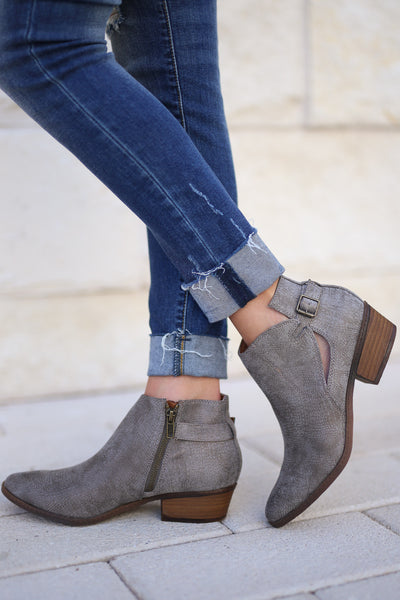 Priscilla Booties - Grey trendy women's booties closet candy boutique 1