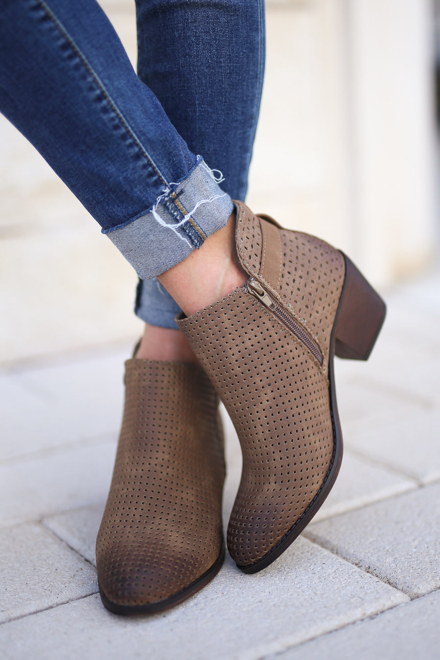 Davina Booties - Tan perforated, trendy ankle booties, cute buckle detail, closet candy boutique 1