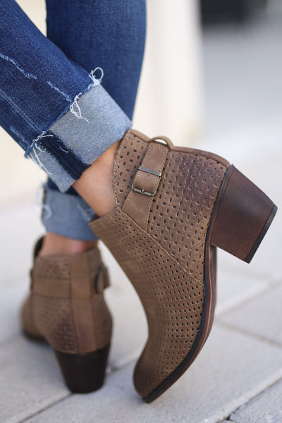 Davina Booties - Tan perforated, trendy ankle booties, cute buckle detail, closet candy boutique 3