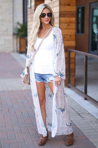 Bohemian Dreams Kimono - Ivory women's trendy gypsy spirit boho chic sheer maxi, snake, bullhead print, blue pop of color, bell sleeves, closet candy boutique 4