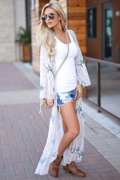 Bohemian Dreams Kimono - Ivory women's trendy gypsy spirit boho chic sheer maxi, snake, bullhead print, blue pop of color, bell sleeves, closet candy boutique 1