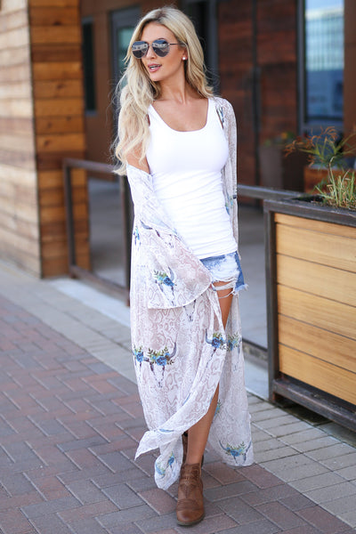 Bohemian Dreams Kimono - Ivory women's trendy gypsy spirit boho chic sheer maxi, snake, bullhead print, blue pop of color, bell sleeves, closet candy boutique 5