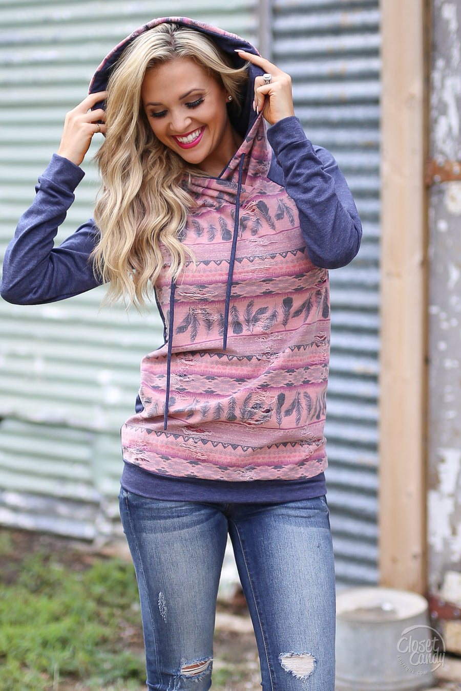 Campfire Tales Hoodie - navy and mauve feather aztec hoodie, front, Closet Candy Boutique