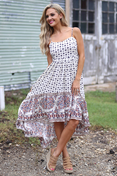 Back In Time Midi Dress - cute printed high-low midi dress, vintage inspired dresses, Closet Candy Boutique