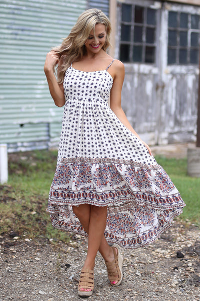 Back In Time Midi Dress - cute printed high-low midi dress, vintage inspired dresses, front, Closet Candy Boutique
