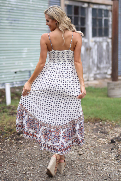 Back In Time Midi Dress - cute printed high-low midi dress, vintage inspired dresses, back, Closet Candy Boutique