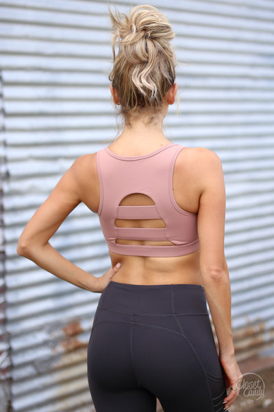 Change the Game Sports Bra - dusty rose cutout sports bra, activewear, back cutout, Closet Candy Boutique