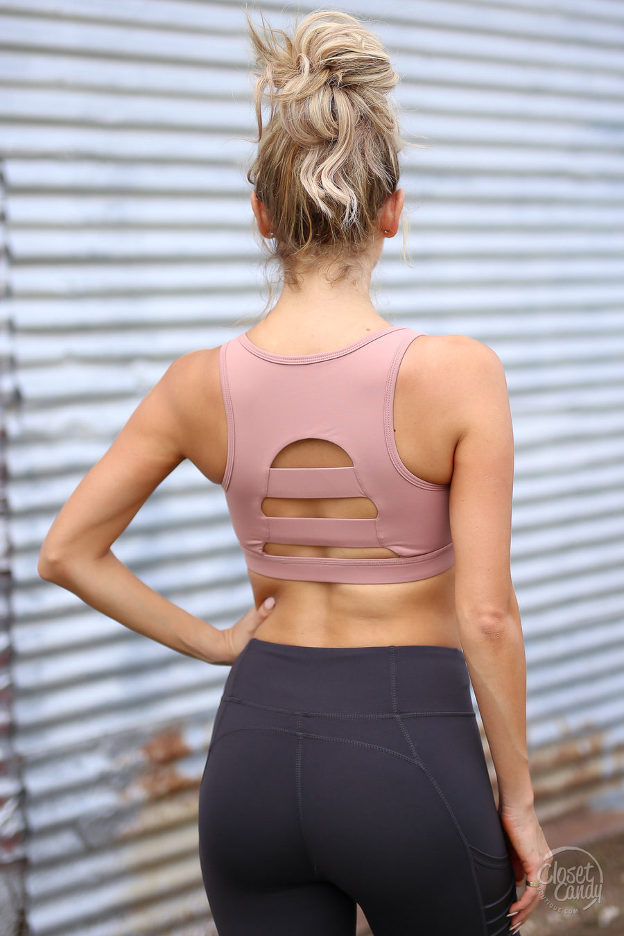 Change the Game Sports Bra - dusty rose cutout sports bra, activewear, front, Closet Candy Boutique